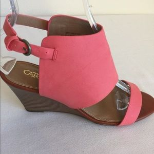New Cato Coral Three Inch Wedge Heels Size 9W